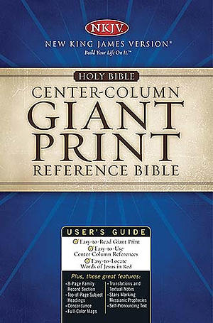 NKJV Reference Bible: Black,  Bonded Leather, Giant Print