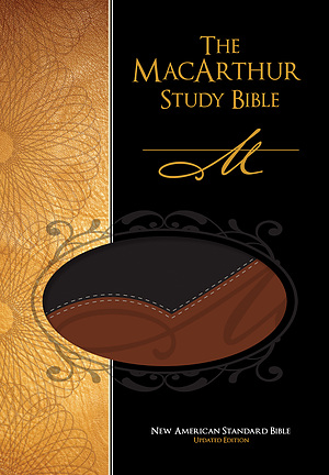 NASB MacArthur Study Bible: Black/Terracotta, LeatherSoft
