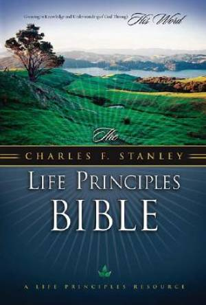 NASB Charles Stanley Life Principles Bible: Burgundy,  Bonded Leather, Thumb Index