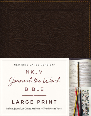 NKJV, Journal the Word Bible, Large Print, Bonded Leather, Brown, Red Letter Edition