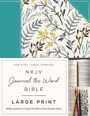 NKJV, Journal the Word Bible, Large Print, Hardcover, Blue Floral Cloth, Red Letter Edition