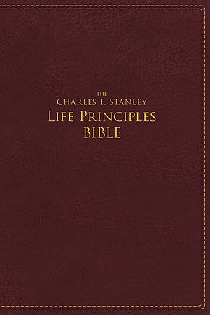 NIV, The Charles F. Stanley Life Principles Bible, Leathersoft, Burgundy