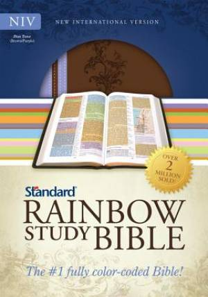 NIV Standard Rainbow Study Bible Imitation Leather Brown and Lavender