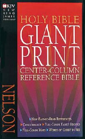 NKJV Giant Print Centre Column Reference Bible Black Leatherflex