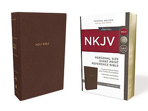 NKJV, Reference Bible, Personal Size Giant Print, Leathersoft, Brown, Red Letter Edition, Comfort Print
