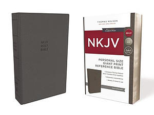 NKJV, Reference Bible, Personal Size Giant Print, Leathersoft, Gray, Red Letter Edition, Comfort Print
