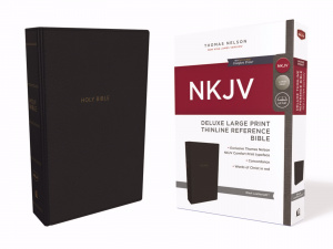 NKJV, Deluxe Thinline Reference Bible, Large Print, Leathersoft, Black, Red Letter Edition, Comfort Print