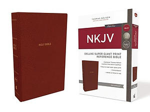NKJV, Deluxe Reference Bible, Super Giant Print, Leathersoft, Red, Red Letter Edition, Comfort Print