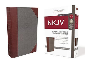 NKJV, Reference Bible, Super Giant Print, Cloth over Board, Gray/Red, Red Letter Edition, Comfort Print
