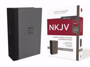 NKJV, Compact Single-Column Reference Bible, Hardcover, Gray, Comfort Print