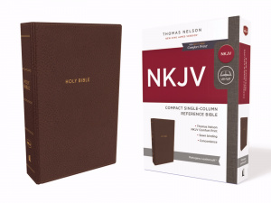 NKJV, Compact Single-Column Reference Bible, Leathersoft, Brown, Comfort Print