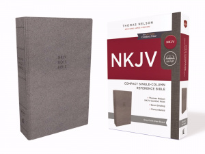 NKJV, Compact Single-Column Reference Bible, Cloth Over Board, Gray,Comfort Print