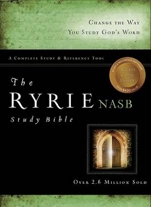 NAS Ryrie Study Bible Genuine Leather Black Red Letter I, Th