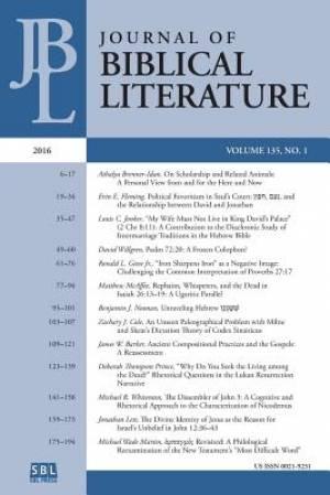 Journal of Biblical Literature 135.1 (2016)