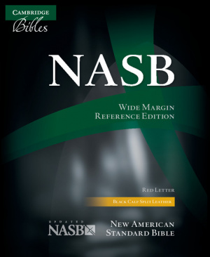 NASB Wide Margin referenceBible, Black Calfsplit Leather, Red Letter Text