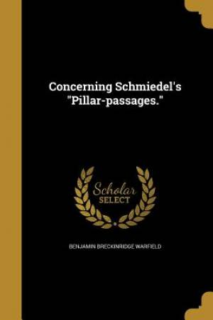 Concerning Schmiedel's Pillar-Passages.