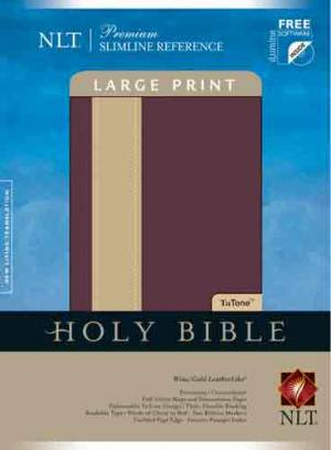 NLT Slimline Bible: Wine and Beige, LeatherLike, Large Print