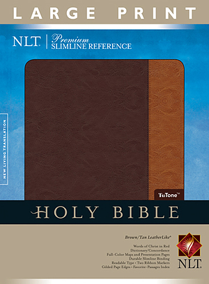 NLT Premium Slimline Reference Bible: Tan and Brown, LeatherLike, Large Print