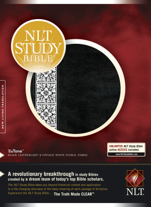 NLT Study Bible: Black / White Floral, Tu Tone, Thumb Indexed