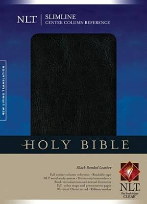 NLT Slimline Center Column Reference Bible: Black, Bonded Leather