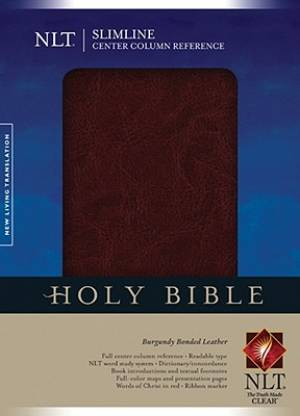 NLT Slimline Center Column Reference Bible: Burgundy, Bonded Leather