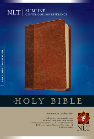 NLT Slimline Center Column Reference Bible: Brown/Tan, Imitation Leather