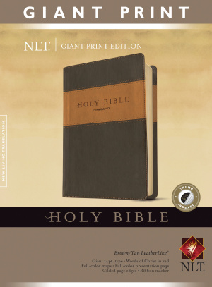 NLT Bible Giant Print Tutone Brown and Tan Imitation Leather with Thumb Indexing