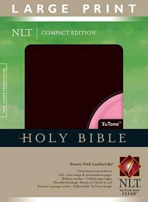 NLT Large Print Compact Tu-tone Brown Pink Leatherlike