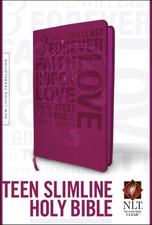 NLT Teen Slimline Bible Imitation Leather Hot Pink