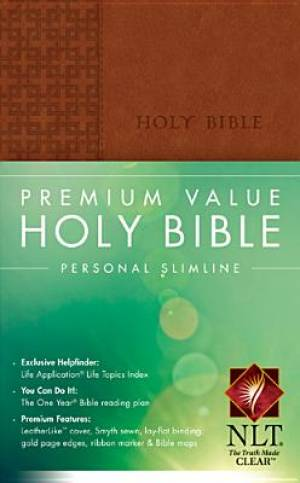 NLT Premium Value Slimline Personal Size Bible Imitation Leather Brown