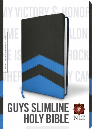 NLT Guys Slimline Bible  TuTone, Charcole/Blue Chevron