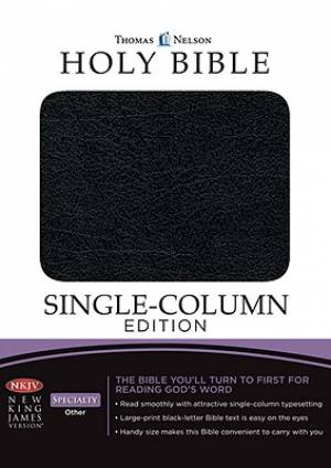 NKJV Single-Column Bible: Black, Bonded Leather