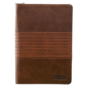 """Strong and Courageous"" (Brown) Flexcover w/ Zipper Journal"