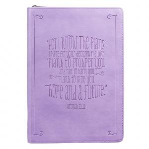 Jeremiah 29:11 Zippered Purple Flexcover Journal