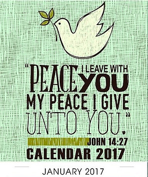 Peace Mini Magnetic Calendar 2017