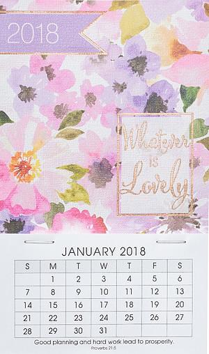 Mini Magnetic Calendar 2018 - Whatever is Lovely