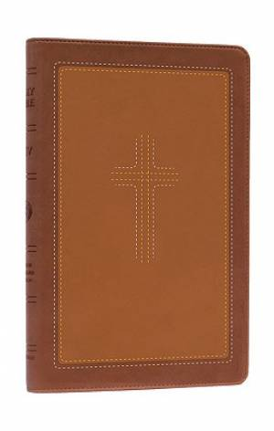 ESV Thinline CrossStitch Bible: Cordovan/Saddle, Tru-Tone