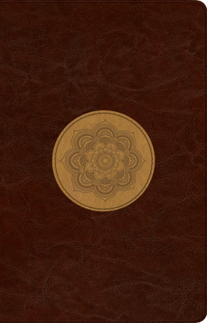 ESV Large Print Thinline Reference Bible TruTone, Chocolate/Goldenrod, Emblem Design