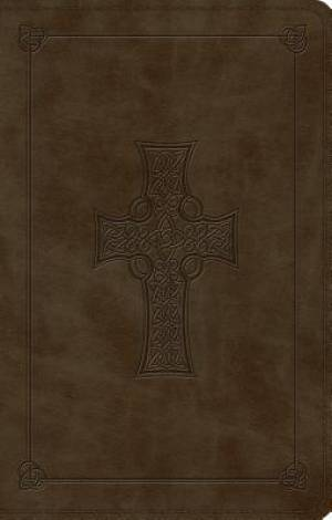 ESV Large Print Value Thinline Bible (TruTone, Olive, Celtic Cross Design)