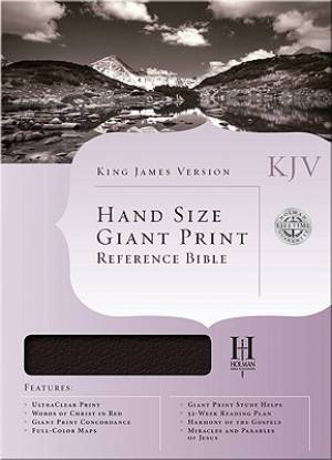 KJV Handsize Giant Print Reference Bible Burgundy Genuine Leather