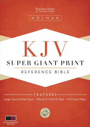 KJV Super Giant Print Reference Bible Black/burgundy Simulated Leather