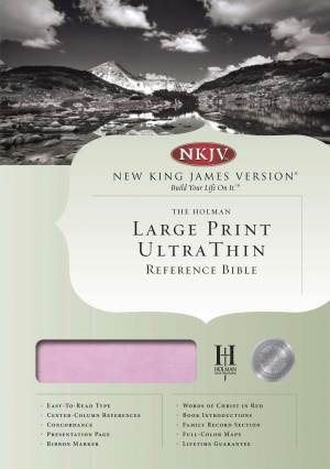 Nkjv Large Print Ultrathin Reference Bible - Pink/brown Simulated Leat