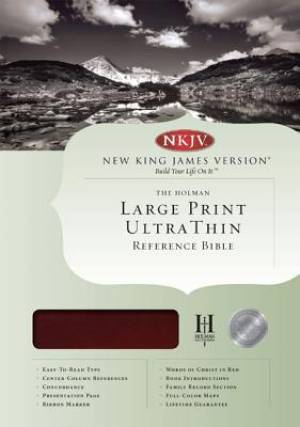 NKJV Large Print Ultrathin Reference Bible - Mahogany Simulated Leather