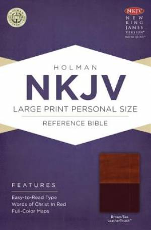NKJV Large Print Personal Size Reference Bible, Brown and Tan Imitation Leather