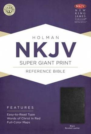 Nkjv Super Giant Print Reference Bible, Black Bonded Leather