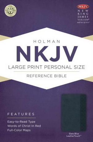 NKJV Large Print Personal Size Reference Bible, Slate Blue Imitation Leather