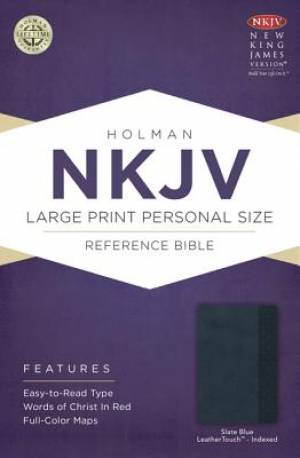 Nkjv Large Print Personal Size Reference Bible, Slate Blue Leathertouc
