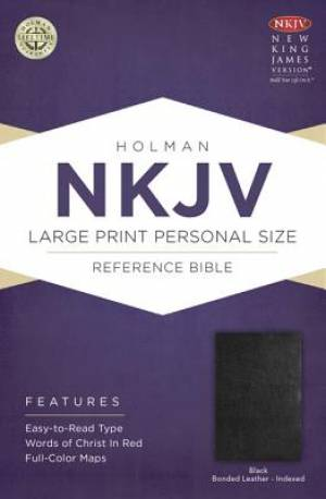 NKJV Large Print Personal Size Reference Bible: Black, Bonded Leather, Indexed
