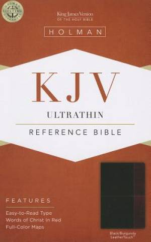 Kjv Ultrathin Reference Bible, Black/burgundy Leathertouch
