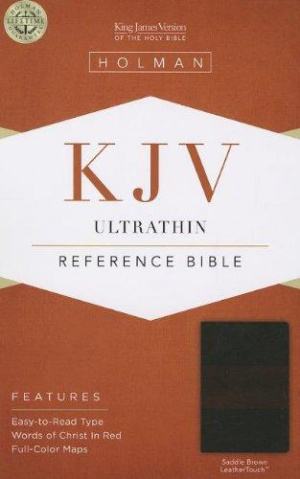 Kjv Ultrathin Reference Bible, Saddle Brown Leathertouch